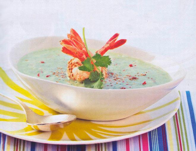 Рецепт Холодный суп из авокадо с креветками