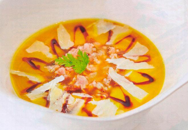 Рецепт Крем суп из тыквы с колбасками