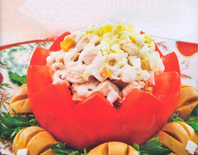 Рецепт Помидоры фаршированные грибами и птицей