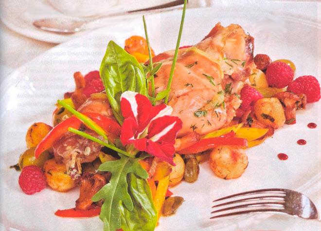 Рецепт Вкусный кролик с оливками и малиновым уксусом
