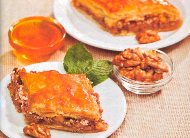 Рецепт Крымская пахлава медовая с орехами