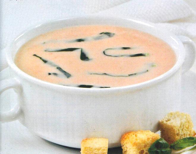Рецепт Суп пюре картофельный с гренками, помидорами и шпинатом
