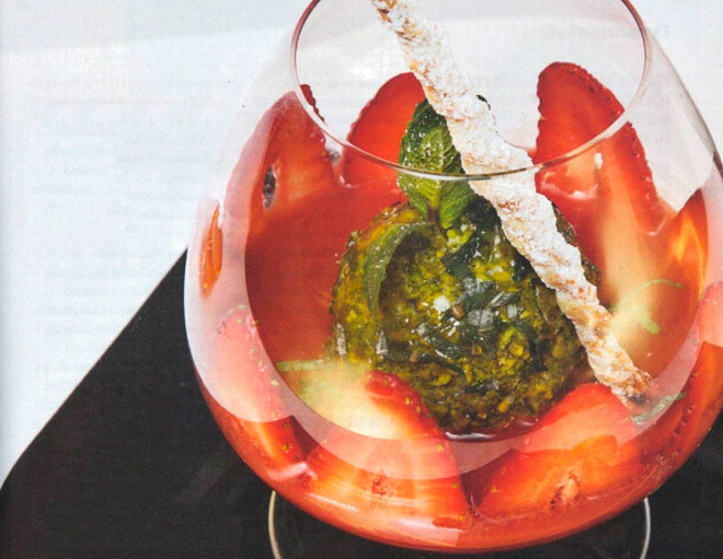 Рецепт Мятный щербет мороженое с клубнично-мятным желе