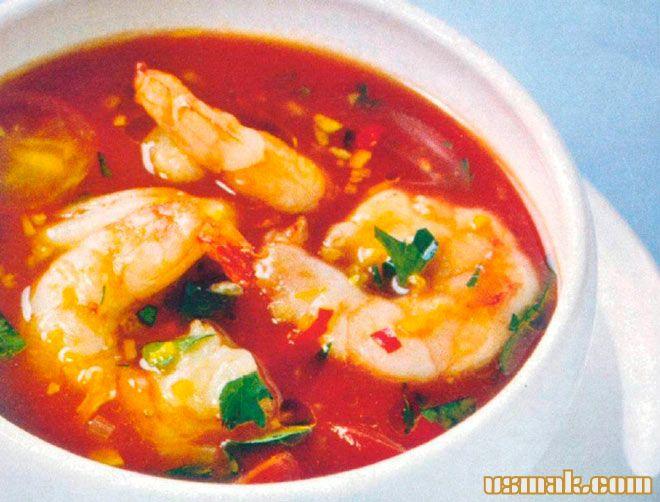 Рецепт Суп томатный с креветками