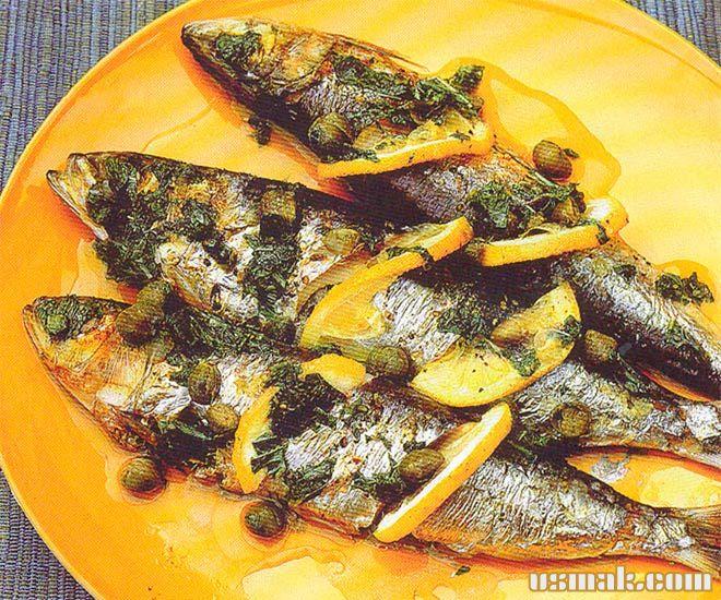 Рецепт Сардины рыба гриль с лимонно-мятным соусом