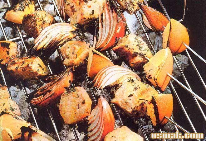 Рецепт Быстрый шашлык из свинины с апельсинами и красным луком