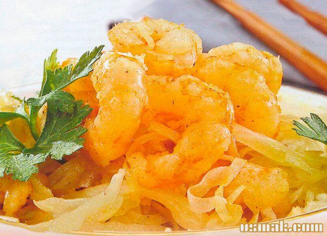 Рецепт Салат с креветками и капустой