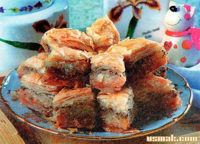 Рецепт Турецкая пахлава медовая из слоеного теста