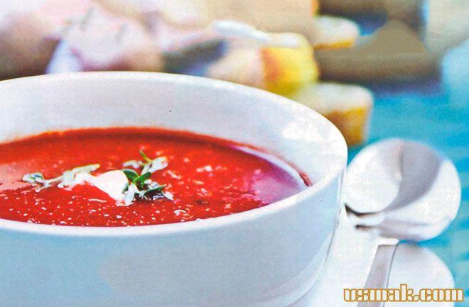 Рецепт Холодный свекольный суп с яблоком