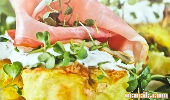 Рецепт Картофельное пюре с ветчиной и кресс-салатом