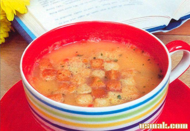 Рецепт Суп пюре с гренками из овощей