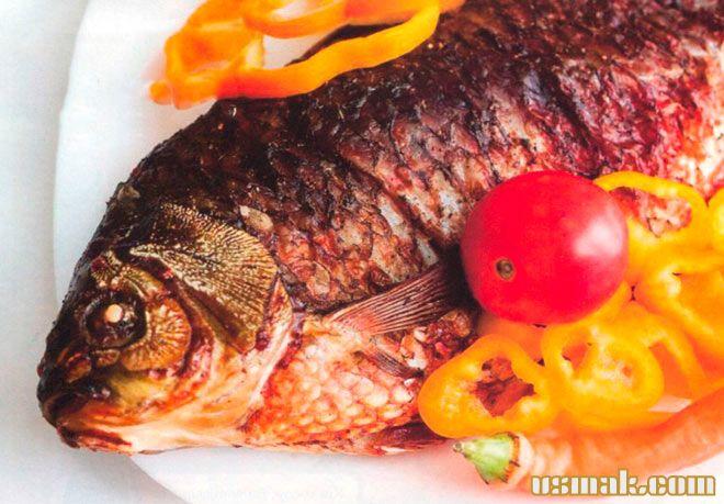Рецепт Вкусный карп запеченный в духовке с овощами