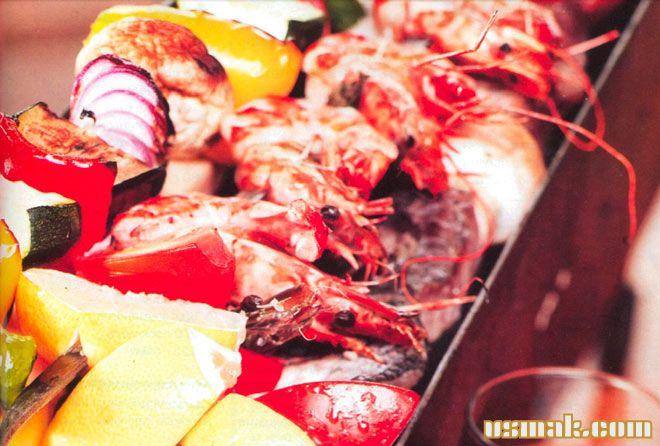 Рецепт Шашлыки из морепродуктов и овощей