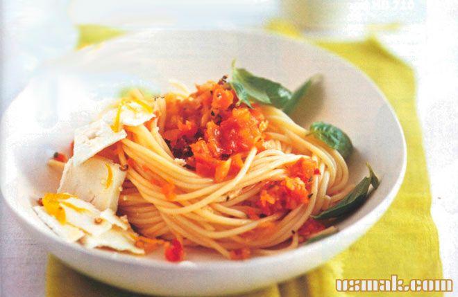 Рецепт Вкусные спагетти с овощами