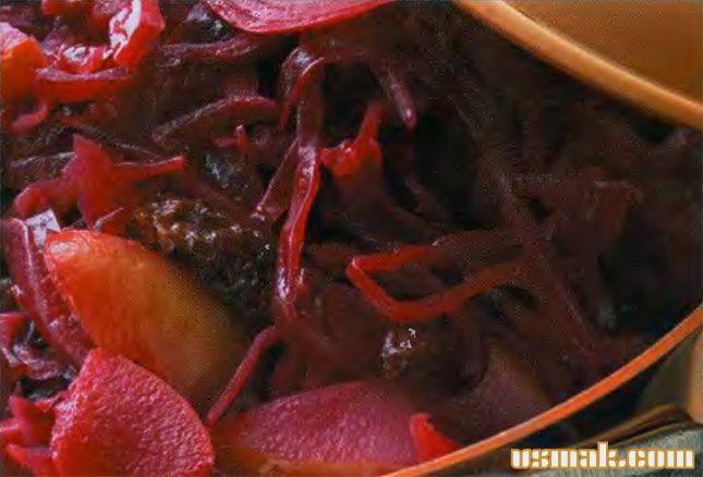 Рецепт Тушеная капуста красная с яблоками