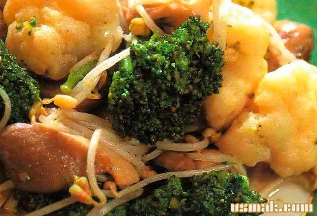 Рецепт Жареная цветная капуста, брокколи и грибы