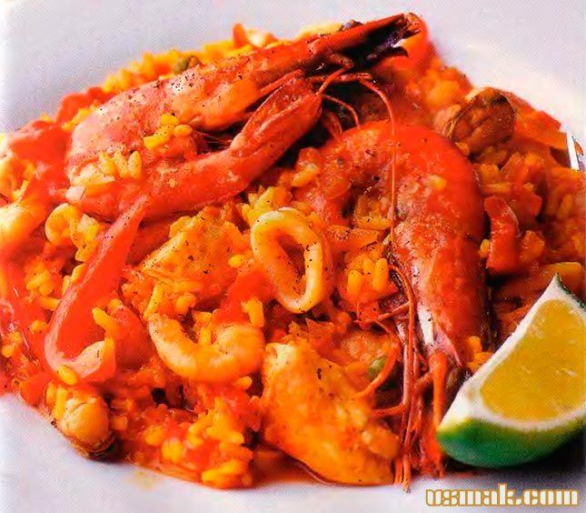 Рецепт Испанская паэлья с курицей и морепродуктами