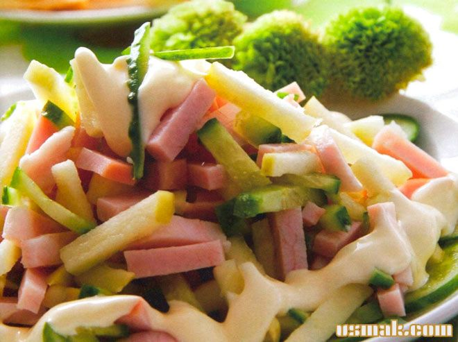 Рецепт Салат зеленый с ветчиной