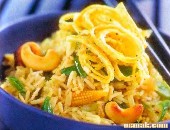 Рецепт Рис обжаренный с овощами и орехами