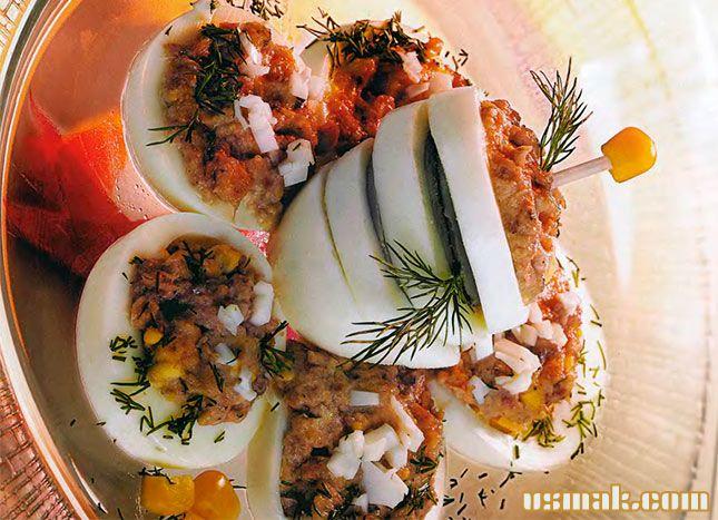 Рецепт Салат из яиц и консервы