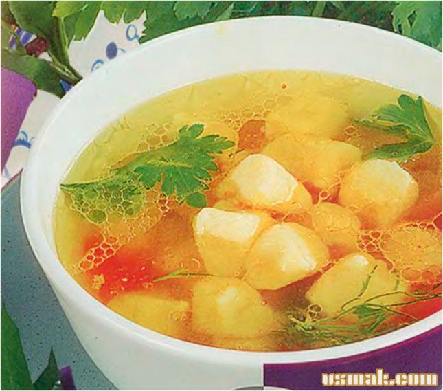 Рецепт Суп с картофельными клецками и куриным бульоном