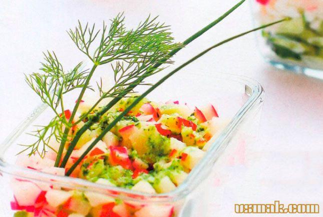 Рецепт Салат с редисом, огурцами и сыром