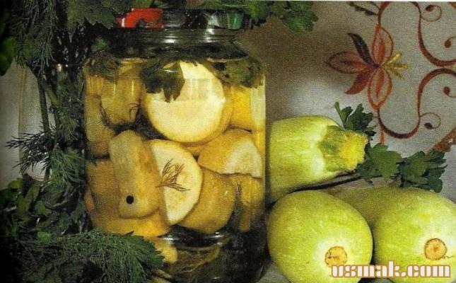 Рецепт Вкусные консервированные кабачки