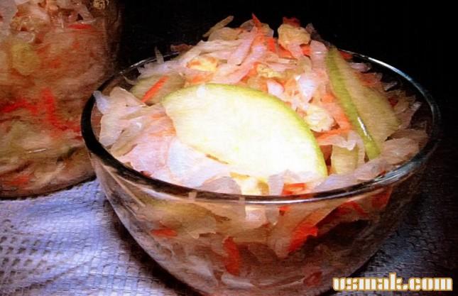 Рецепт Квашеная капуста с яблоками