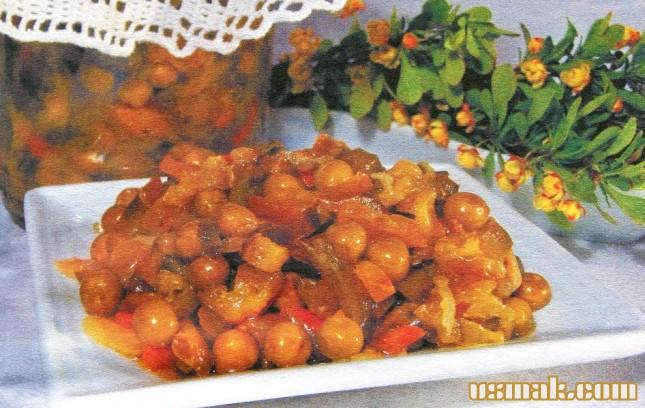 Рецепт Салат из капусты, огурца и горошка