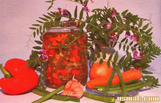 Рецепт Салат из зеленой фасоли на зиму