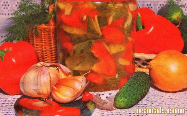 Рецепт Салат из огурцов и перца на зиму