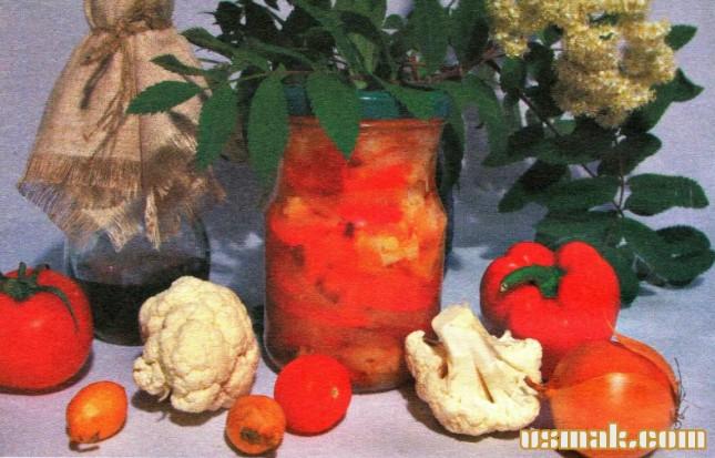 Рецепт Салат из цветной капусты на зиму