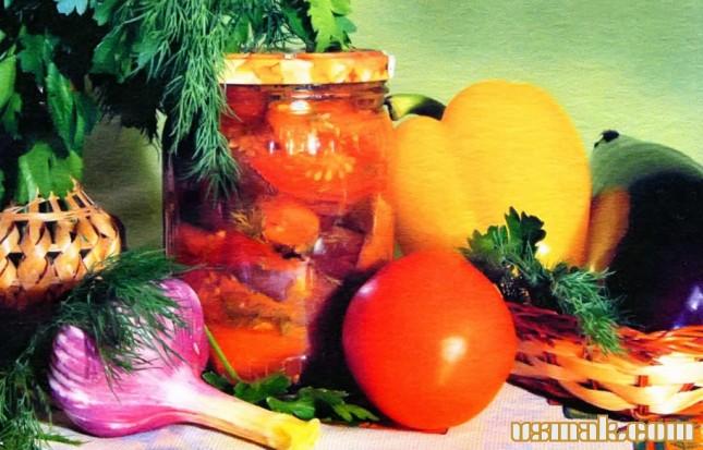 Рецепт Закуска из баклажан с помидорами и перцем