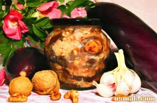 Рецепт Баклажаны с орехами и чесноком
