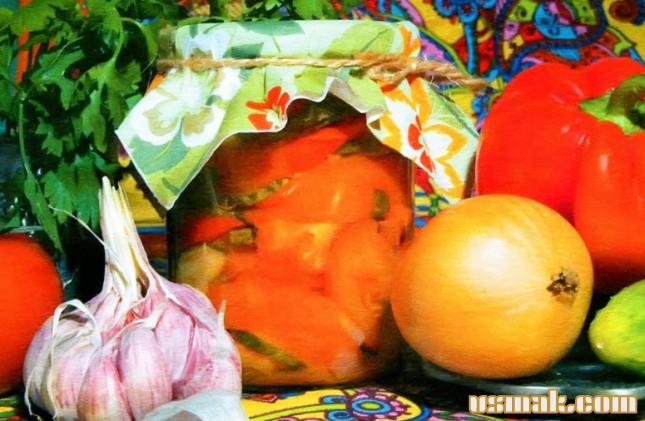 Рецепт Огурцы, помидоры и перец на зиму