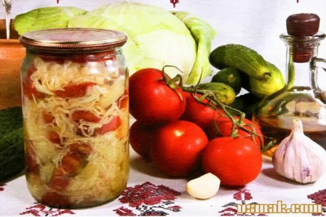 Рецепт Салат капуста, огурцы и помидоры на зиму
