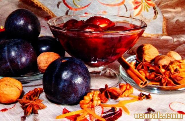 Рецепт Сливовый компот с пряностями