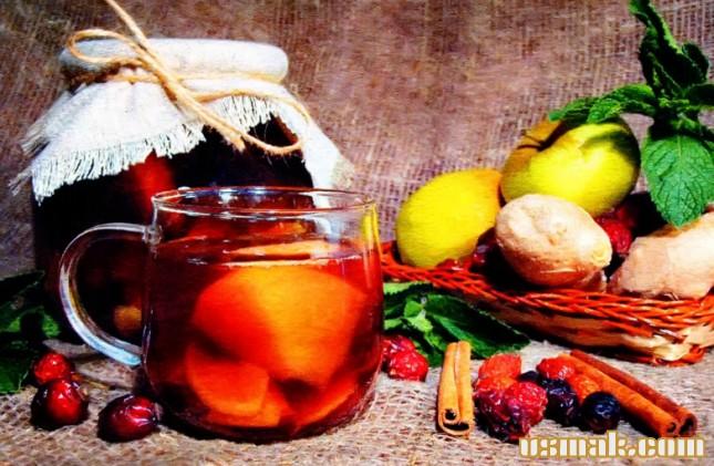 Рецепт Компот из яблок, шиповника, имбиря и мяты