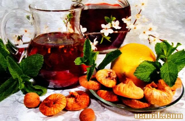 Рецепт Компот из инжира, красного вина и мяты