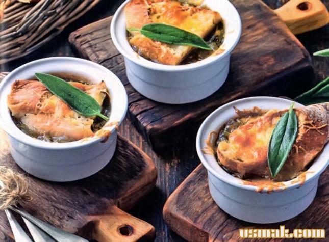 Рецепт Луковый суп в горшочках