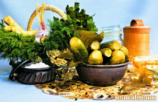 Рецепт Огурцы маринованные с хреном и медом