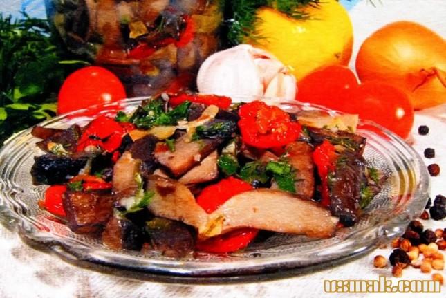 Рецепт Салат грибной с помидорами