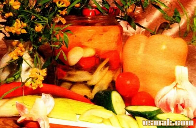 Рецепт Огурцы, помидоры, перец и сельдерей на зиму