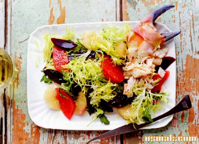 Рецепт Салат из грейпфрута, краба и свеклы