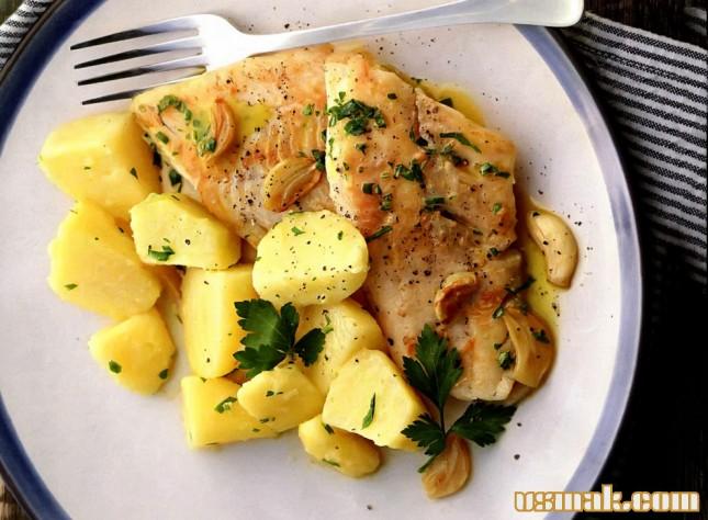 рецепт рыба хек кусочками в духовке с кортошкой