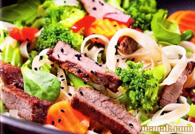 Рецепт Говядина с лапшой и овощами