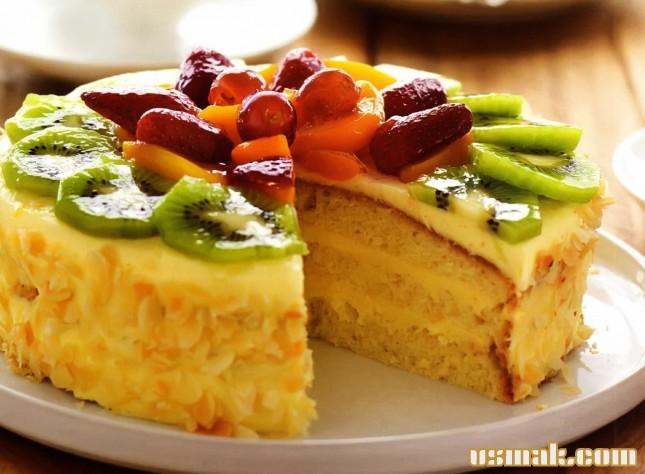 Рецепт Миндальный торт с фруктами