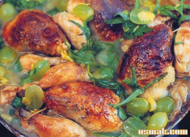 Рецепт Курица тушенная в вине