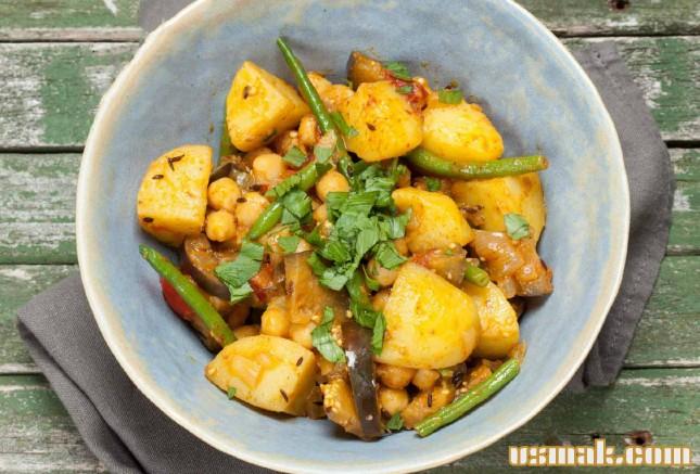Рецепт Картофельное карри с баклажаном и нутом