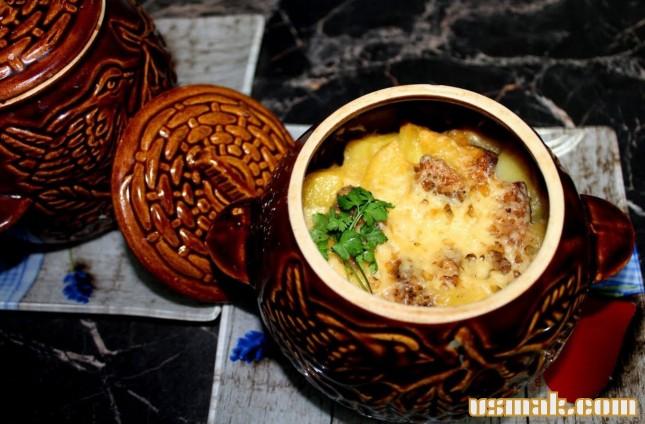 Рецепт Картошка с мясом, приготовленные в кастрюле фото